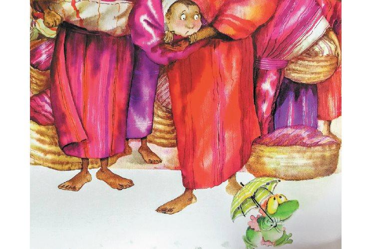 En las ilustraciones de Los cuentos del Cuyito se aprecia el colorido guatemalteco; son del español Nivio López Vigil.