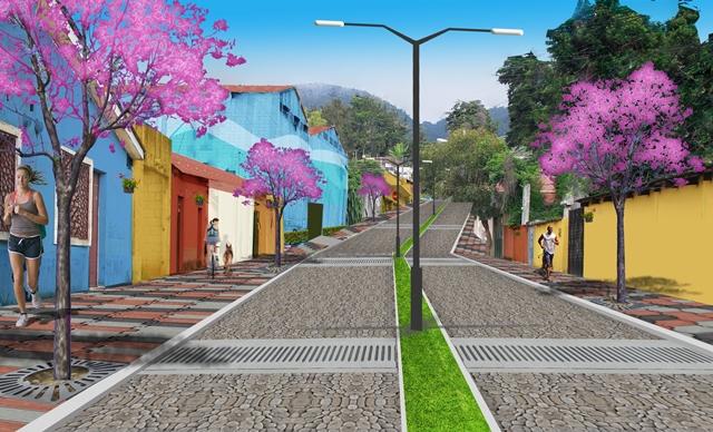 Comuna mostró una ilustración del diseño de la 4a. calle de la zona 1, similar a la Calle Real, recién inaugurada. (Foto Prensa Libre: Cortesía)