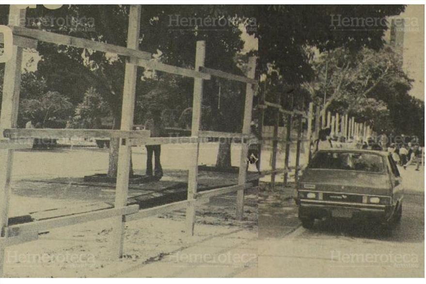 13/02/1984: Comienzan a cercar la Plaza Mayor. ( Foto: Hemeroteca PL)