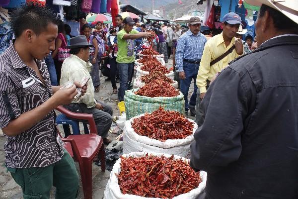Durante la feria de Rabinal,  vecinos se abastecen de chile denominado San Pablo.
