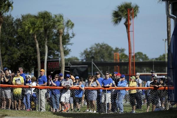 Los seguidores de los Mets llegaron a los entrenamientos. (Foto Prensa Libre: AP)