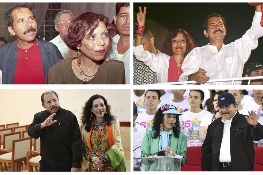 """Combo de imágenes de archivo de la pareja de los """"Ortega"""" que busca de nuevo el poder en Nicaragua. (Foto Prensa Libre: AFP)."""