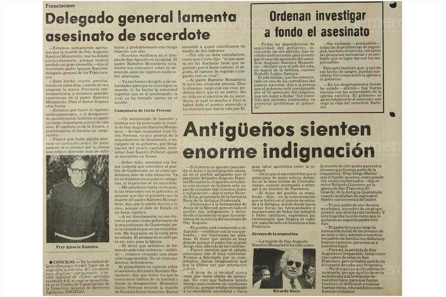 Manifestaciones de pesar y repudio por asesinato de Ramírez Monasterio. (Foto: Hmeroteca PL)