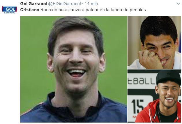 Por supuesto, no pueden faltar Lionel Messi, Luis Suárez y Neymar en los memes. (Foto Prensa Libre: Twitter)