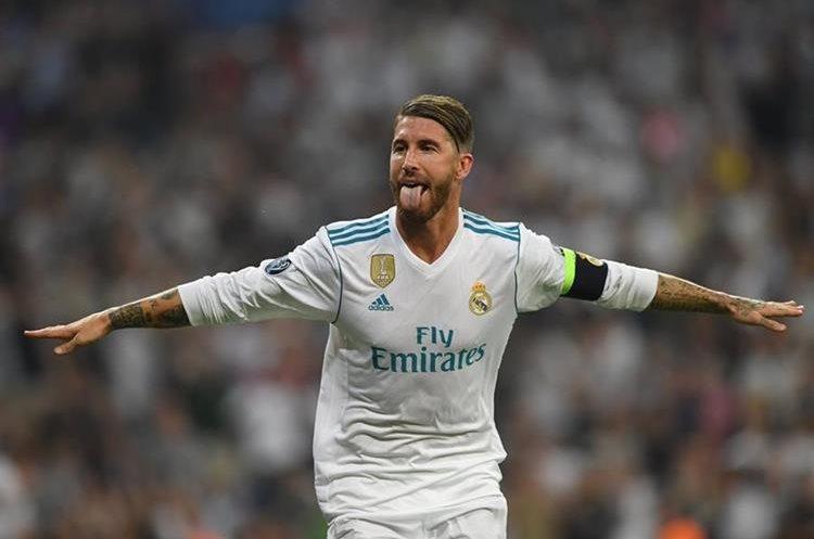 Sergio Ramos celebra celebra el tercer gol del Real Madrid.