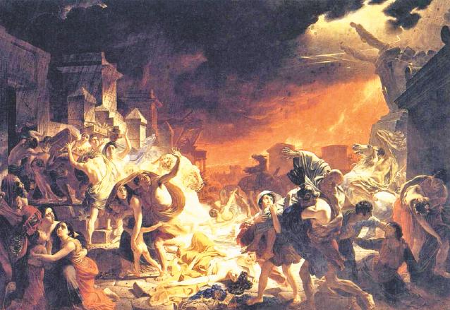 Pintura que recrea la destrucción de Pompeya. El último día de Pompeya de Karl Pavlovic Bryulov (1798-1877). (Foto: Hemeroteca PL)