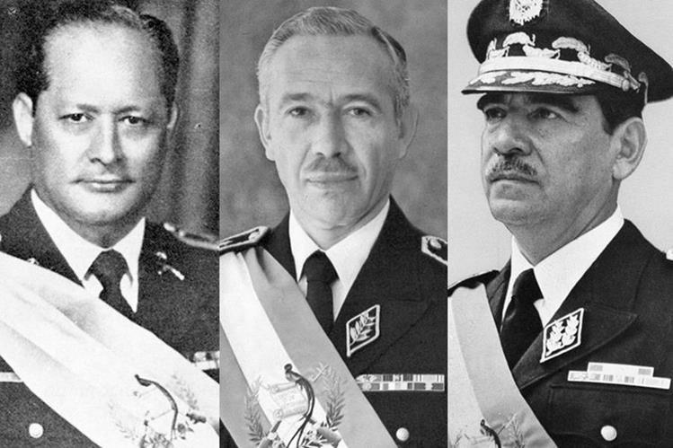 Arana Osorio, Laugerud García y Lucas García, tres generales presidentes. (Fotoarte: Hugo Cuyán Vásquez)