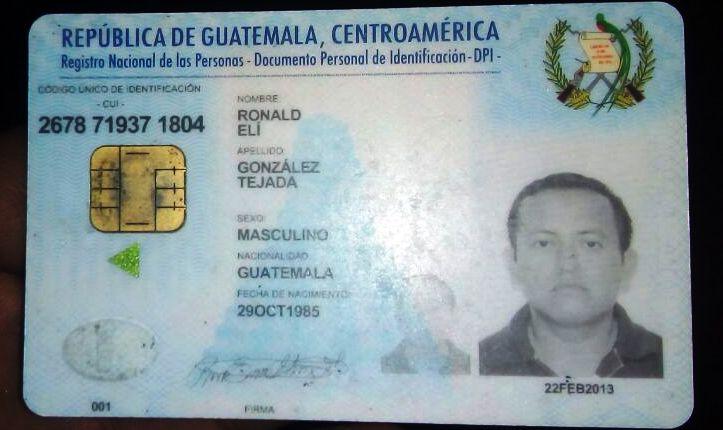 DPI  de Ronald Elí Tejada, asesinado el pasado el 21 de abril en el barrio Nuevo, Zacapa. (Foto Prensa Libre: Mario Morales)