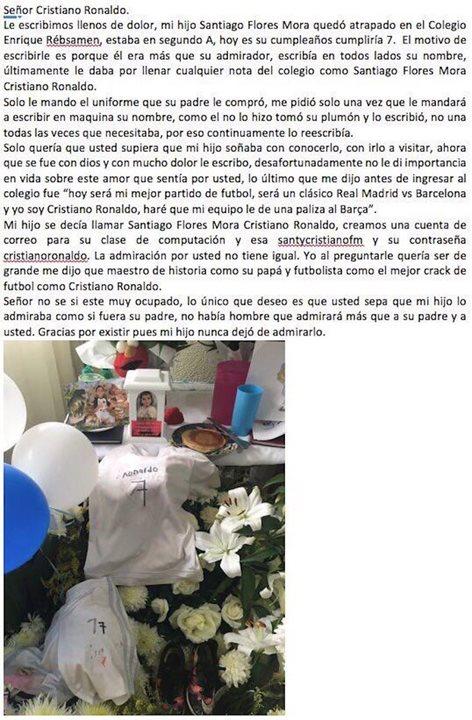 La emotiva carta de la madre de Santiago a Cristiano Ronaldo. (Captura de Pantalla Facebook).