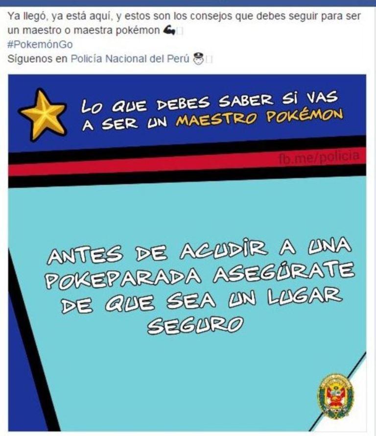 La policía peruana también ofrece buenos consejos. (FACEBOOK DE LA POLICÍA NACIONAL DE PERÚ)
