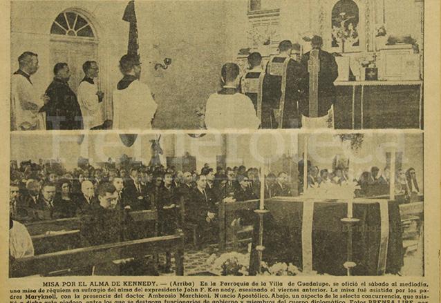 El 24 de noviembre de 1963 se realizó un servicio fúnebre en memoria del presidente Kennedy en la Parroquia de la Villa de Guadalupe. (Foto: Hemeroteca PL)