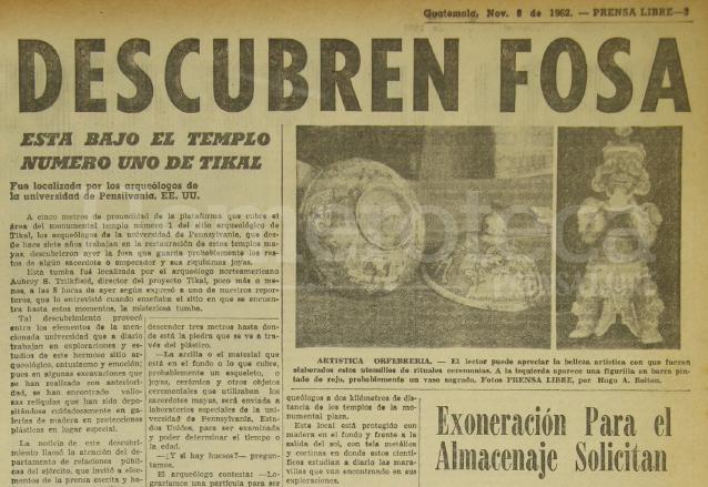 Nota de Prensa Libre del 8/11/1962. (Foto: Hemeroteca PL)