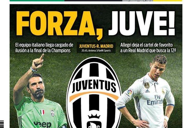 Sport no ocultó su deseo de ver campeón a la Juventus. (Foto Prensa Libre: Diario Sport)