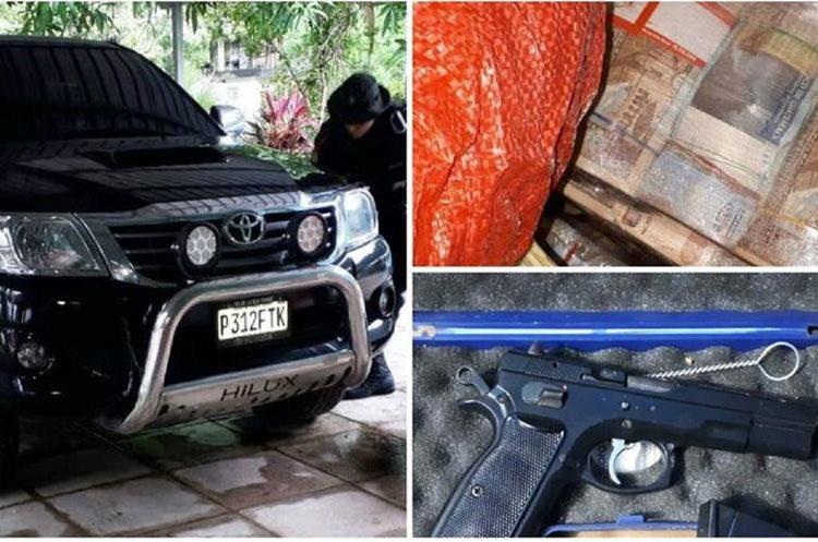 Vehículos, dinero en efectivo y armas fueron incautadas por el MP durante allanamientos en propiedades de los supuestos narcotraficantes capturados. (Foto Prensa Libre: MP)