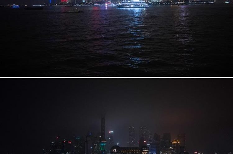 This combination of pictures created on March 19, 2016 shows the city skyline before (TOP) and after (BOTTOM) the lights were switched off during the Earth Hour campaign in Shanghai on March 19, 2016.  Millions of people from 178 countries and territories are expected to take part in WWF