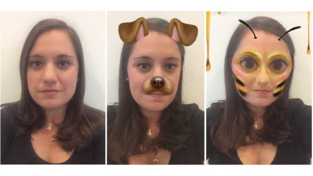 Snapchat permite a los usuarios añadir efectos en tiempo real a sus fotos y videos, gracias a la tecnología de detección de rostros. (KERRY ALEXANDRA).