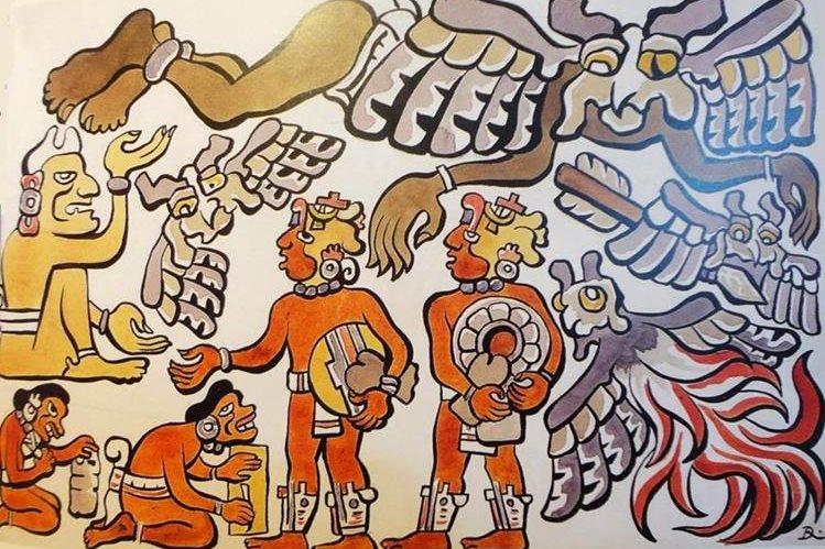 Los mensajeros de Xibalba invitan a los jugadores de pelota, de Diego Rivera, 1931.