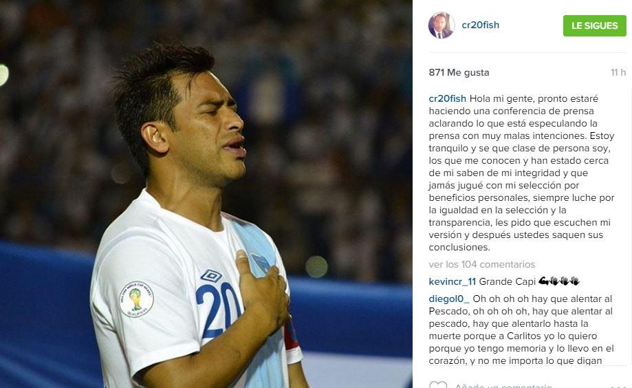 El delantero nacional posteó en su cuenta de instagram un mensaje donde asegura estar tranquilo. (Foto Redes Sociales).