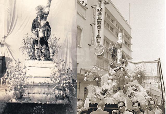 A la izquierda, Jesús de Candelaria a principios del siglo XX. A la derecha, Jesús de la Merced, martes santo de 1950. (Foto: Hemeroteca PL)