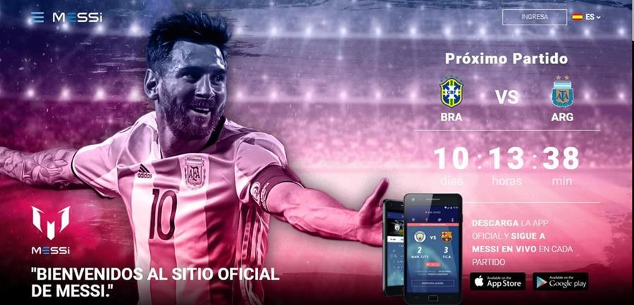 Así luce la portada de la página web de Messi. (Foto Prensa Libre: Captura de Pantalla: www.messi.com)