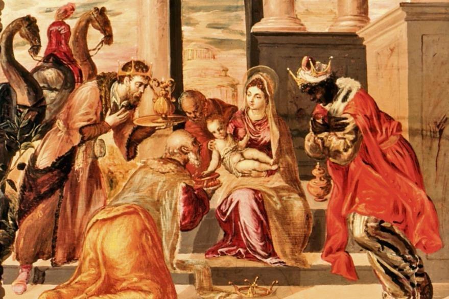 ADORACIÓN DE  los Reyes Magos es  de El Greco (1541-1614), quien la pintó entre  1568 y 1569. Se aprecia a  María y a Jesús. El niño extiende un brazo para recibir los presentes que le dan los magos, quienes se muestran con atuendos de colores.