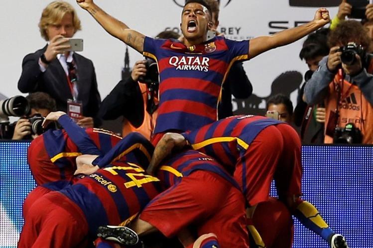 Jordi Alba abrió el camino a la gloria para el Barcelona. (Foto Prensa Libre: AP)