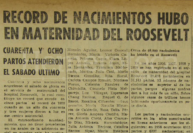 Nota periodística del 19 de abril de 1960 informando sobre los múltiples partos realizados en la Maternidad del Hospital Roosevelt. (Foto: Hemeroteca PL)