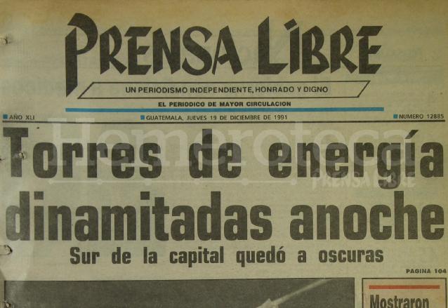 Titular de Prensa Libre del 19 de diciembre de 1991. (Foto: Hemeroteca PL)