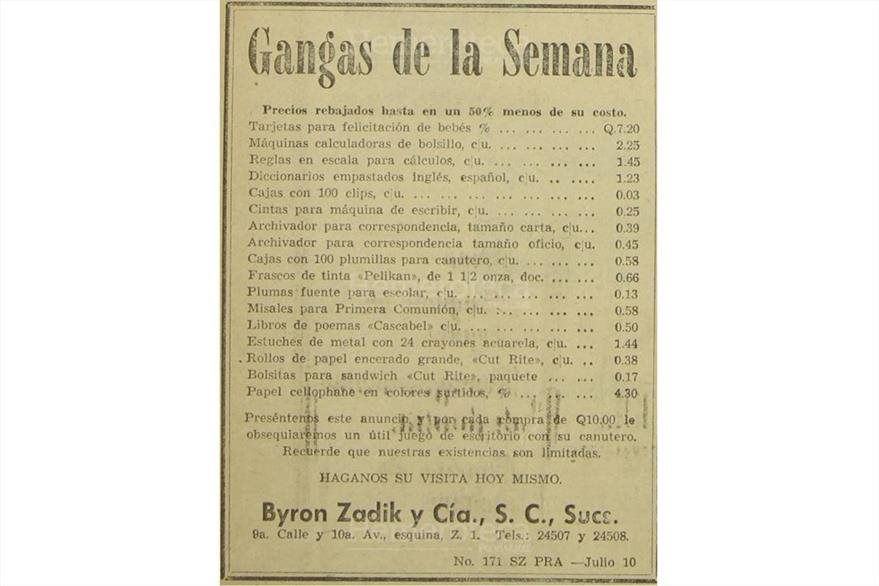 Gangas semanales ofrecidas en julio de 1961. (Foto: Hemeroteca PL)