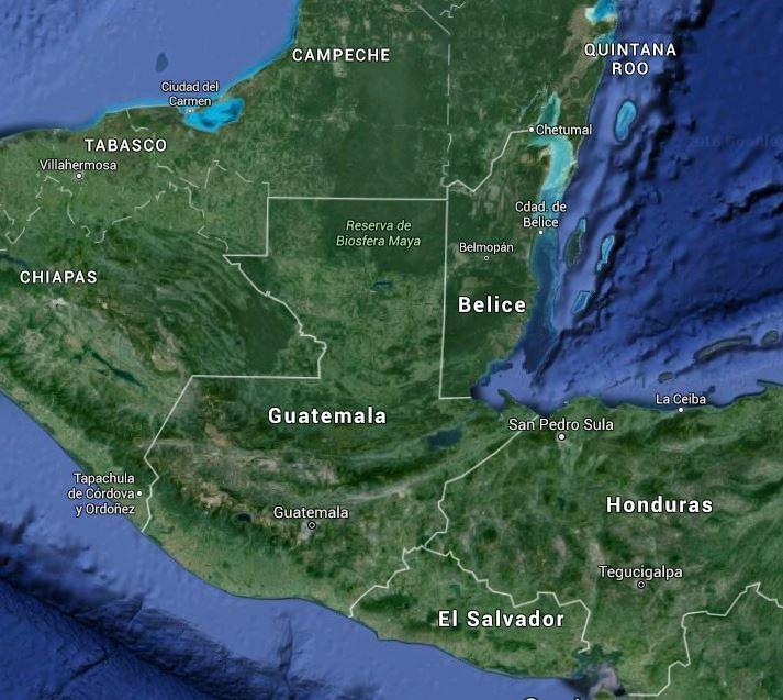 Mapa de ubicación de Guatemala en el istmo centroamericano. (Foto Prensa Libre: Google Maps)