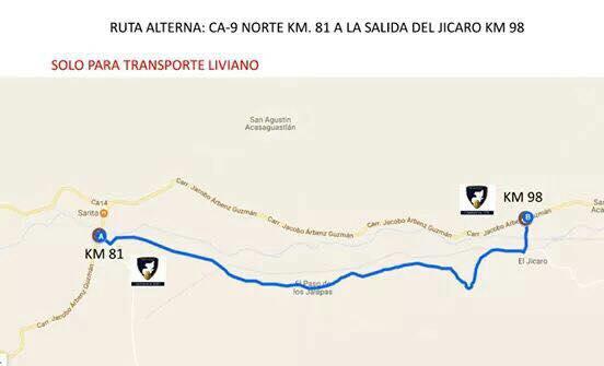 Ruta alterna para vehículos livianos durante el cierre de la ruta al Atlántico. (Foto Prensa Libre: Provial)
