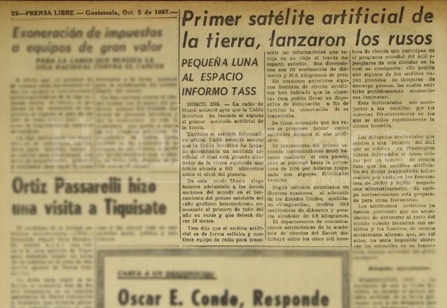 Nota de Prensa Libre del 5 de octubre de 1957 informando sobre el lanzamiento del Sputnik por parte de Rusia. (Foto: Hemeroteca PL)