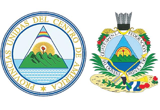 A la izquierda, Escudo de las Provincias Unidas del Centro de América (1823-1825), derecha: Escudo del Estado de Guatemala dentro de la Federación (1825-1843). (Foto: Hemeroteca PL)
