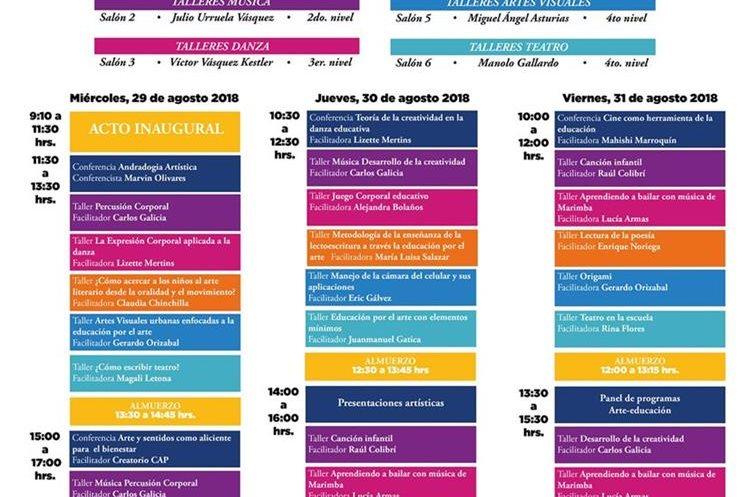 Este es el cronograma de talleres que se ofrecieron en el Primer Congreso Nacional de Educación por el Arte. (Foto Prensa Libre: Facebook Clea).