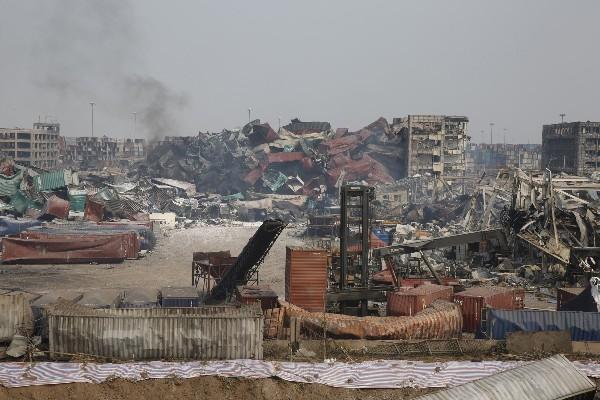 <em>Zona devastada por la explosión en el puerto de Tianjin.</em>