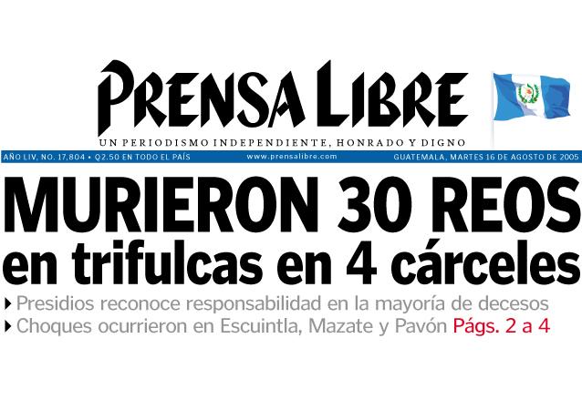 Portada de Prensa Libre del 16 de agosto 2005. (Foto: Hemeroteca PL)
