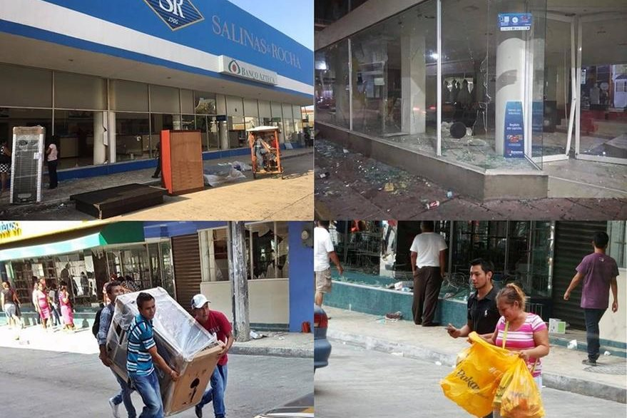 Combo de imágenes que muestran el caos generado por saqueos y vandalismo en Tapachula Chiapas, México. (Fotos cortesía Moisés Vásquez).