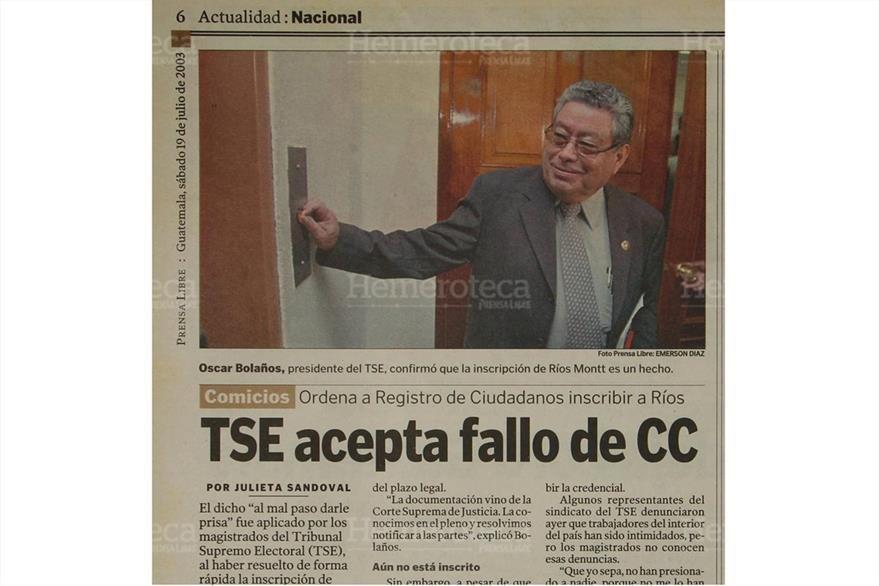 Oscar Bolaños, presidente del TSE, se manifestó en contra de la inscripción de Ríos Montt. (Foto: Hemeroteca PL)