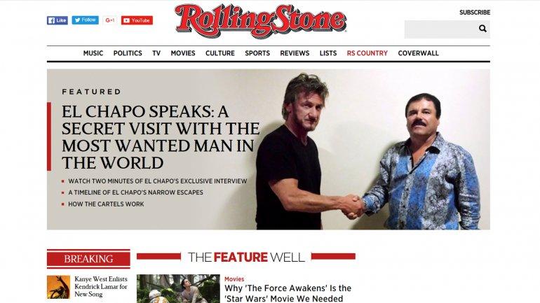 """Portada en internet de la revista """"Rolling Stone"""" que muestra el encuentro entre Sean Penn y """"el Chapo"""" Guzmán. (internet)"""