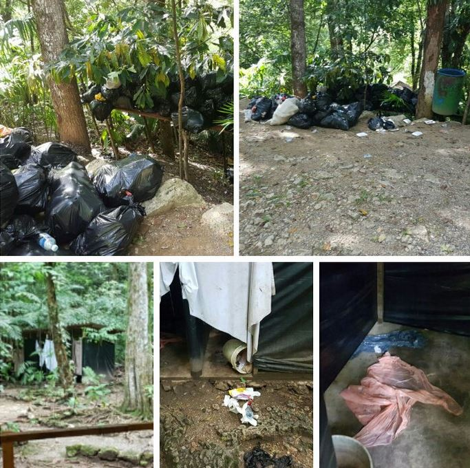 Daños en algunas áreas y desorden encontraron autoridades del Consejo Nacional de Áreas Protegidas. (Foto Prensa Libre: Conap)