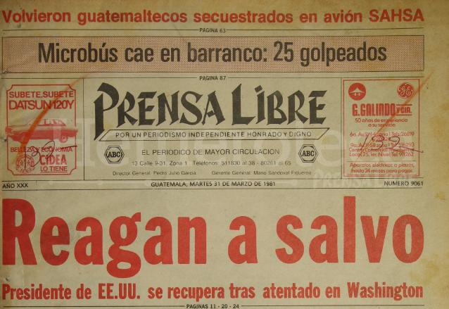 Titular de Prensa Libre del 31 de marzo de 1981, informando sobre al atentado contra Reagan. (Foto: Hemeroteca PL)