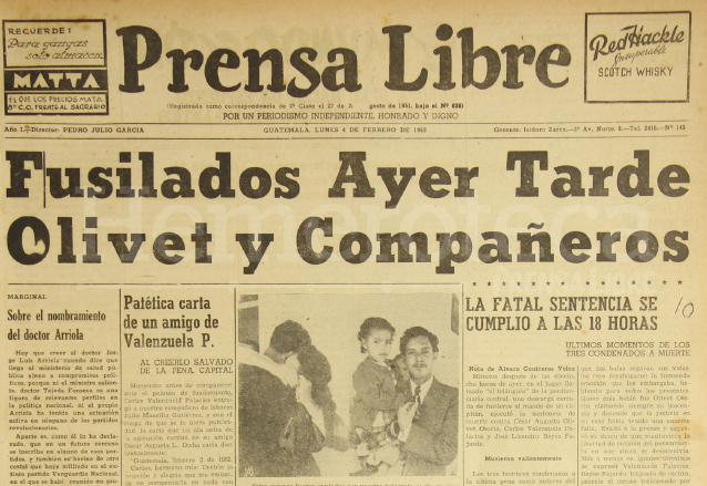 Titular de Prensa Libre del 4 de febrero de 1952. (Foto: Hemeroteca PL)