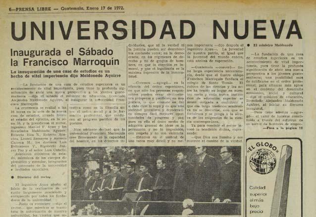 Nota informativa de Prensa Libre del 17 de enero de 1972 informando sobre el inicio de actividades de la UFM. (Foto: Hemeroteca PL)