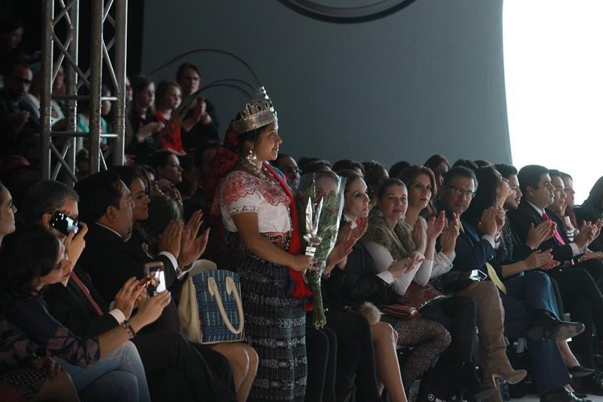 Celeste Morales Cruz, Rabín Ajaw, fue la invitada especial de la firma Mayanz. (Foto Prensa Libre: Estuardo Paredes)
