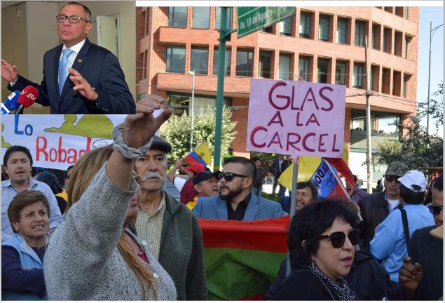 Protesta contra vicepresidente en funciones ecuatoriano, Jorge Glas -inserto-. (Fotos Prensa libre: EFE/AFP