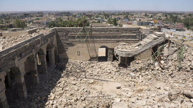 Nebi Yunus, el sitio donde estaba emplazado un palacio, ha sufrido más daño de lo que se pensaba y corre peligro de colapsar. GETTY IMAGES