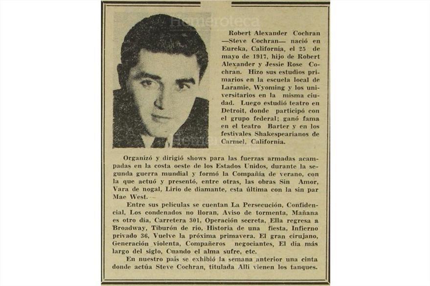 28/06/1965 El actor Robert Alexander Cochran muere en costas guatemaltecas. (Foto: Hemeroteca PL)