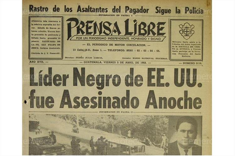 Portada de Prensa Libre del 5/04/1968.( Foto: Hemeroteca PL)