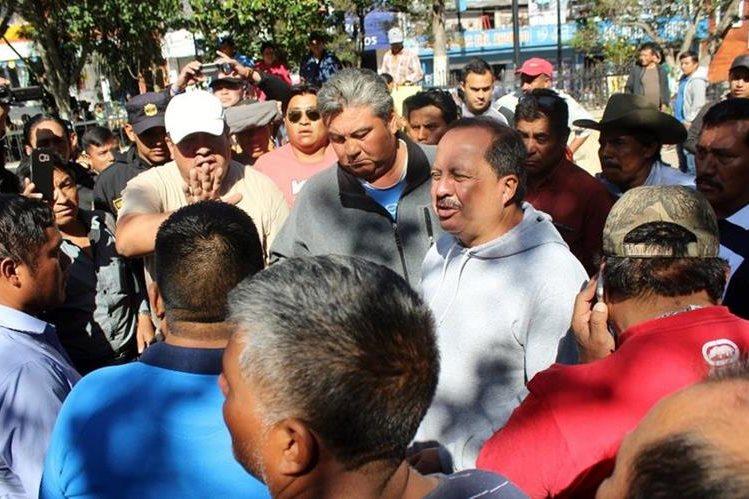 Lugar donde se originó la manifestación de los transportistas en Quiché. (Foto Prensa Libre: Óscar Figueroa).
