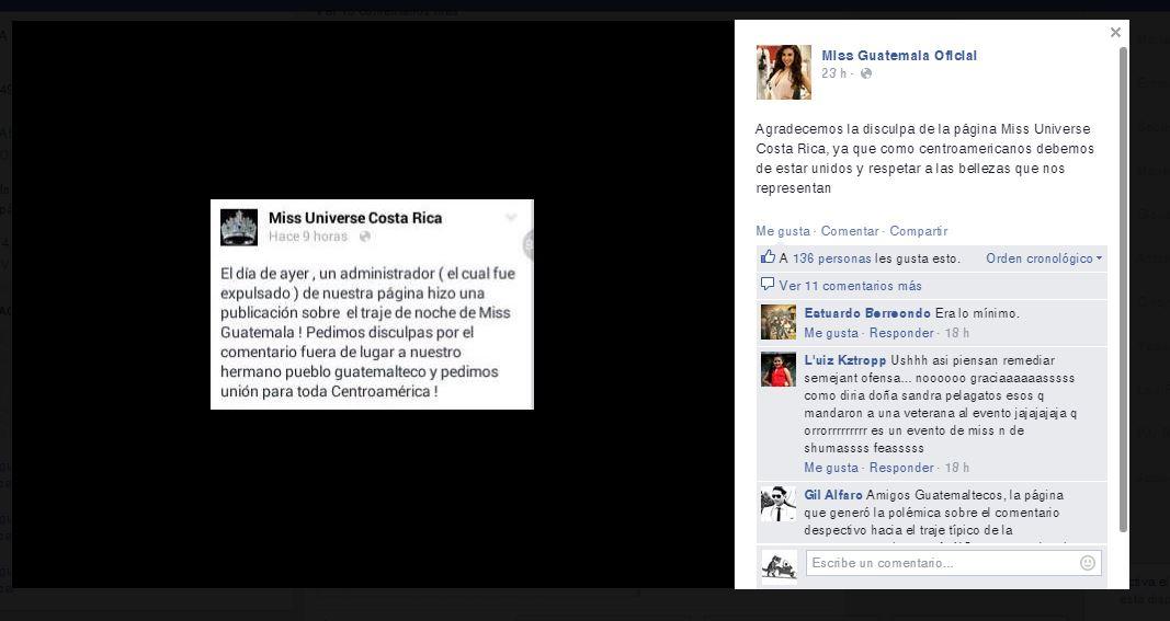Imagen de la disculpa que ofreció Miss Unviverse Costa Rica a Miss Guatemala. (Foto Prensa Libre: Hemeroteca PL)